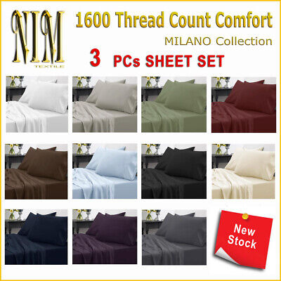 Luxury Soft 3pcs Fitted Bed SHEET SET DOUBLE QUEEN KING NO Flat Sheet