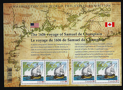USA & Canada Issue -S/S of 4 — The 1606 Voyage of Samuel de Champlain #2156 —MNH