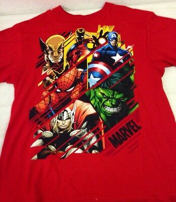 Lot Of 4 Marvel D.C. Comics Tshirts Size XL Avengers Superman Xtra Large