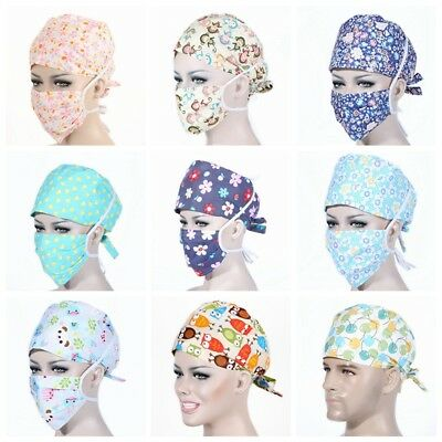 Men Women Printing Scrub Cap Doctor Nurses Mask Medical Surgical Surgery Hat Hot