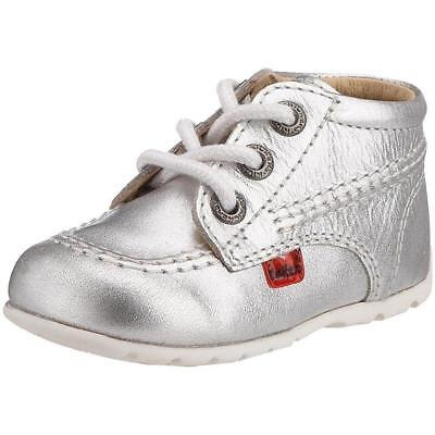 Kickers Kick Hi B Silver Leather Baby First Walkers Shoes