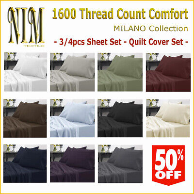 Luxury 1600TC Flat Fitted 3/4pcs SHEET SET QUILT COVER - DOUBLE/QUEEN/KING/SUPER