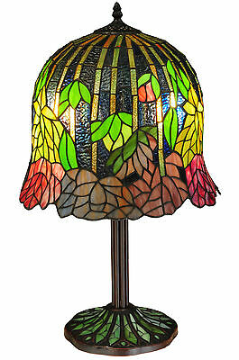 "FALLING FLOWERS Floral TIFFANY STYLE Stained Glass Table Lamp 23""H MOSAIC BASE"
