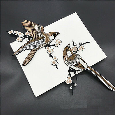 1 Pair Bird Embroidered Patches Iron on Sewing Stripe for clothes applique  LD