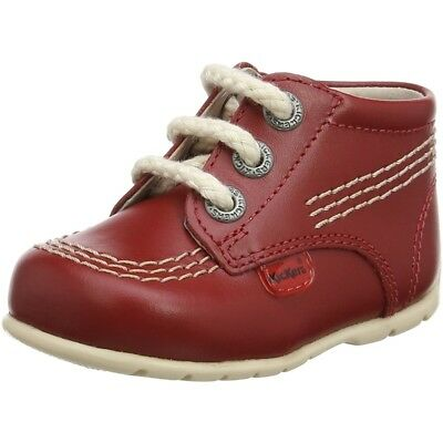 Kickers Kick Hi B Red/White Leather Baby First Walkers Shoes
