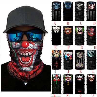 Halloween Bandana Face Mask Motorcycle Skull Clown Neck Tube Scarf Warmer Cap