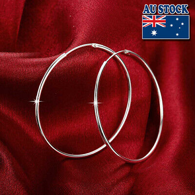 Classic 925 Sterling Silver Filled 50MM High Polished Big Hoop Earrings
