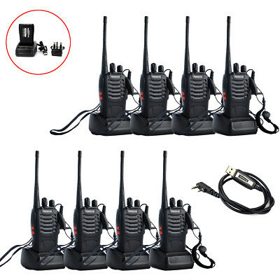 8x Walkie Talkie Retevis H-777 UHF Radio Transceiver 5W 16CH CTCSS/DCS+USB Cable