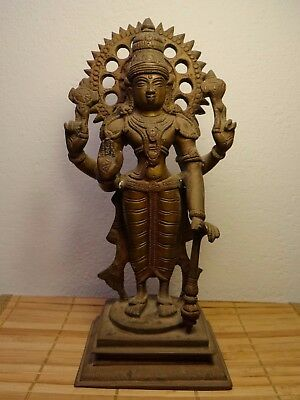 India Vishnu Statuetta In Bronzo