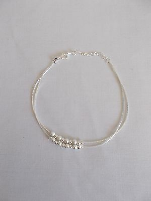S925 Sterling Silver Beads Chain Anklet
