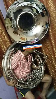 """Sousaphone Big Bell Size 25"""" Bell In Chrome Polish Of Pure Brass + Free Case Box"""