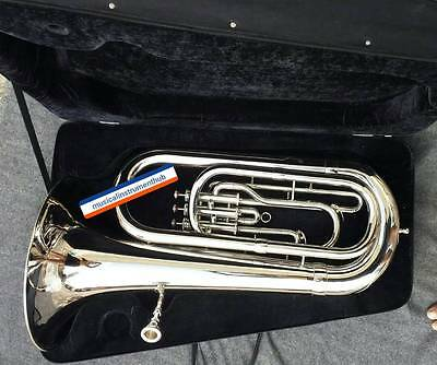 Tuba Eb Flat Of Pure Brass In Pure Silver Polish+Hard Case+Mouthpc+Free Shipping