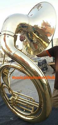 "Sousaphone Big Bell25"" Pure Brass Made In Gold Polish+Case+Mouthpc+Free Shipping"