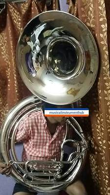 "Sousaphone Jumbo Bell 25"" Of Pure Brass In Silver Polish+Case+ Mouthpc+Free Ship"
