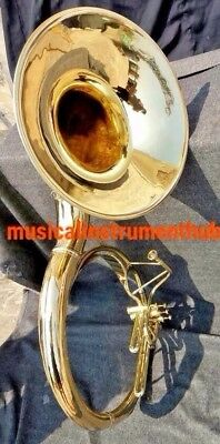 "Sousaphone For Bands 22"" Bell In Gold Polish Of Pure Brass + Case+ Free Shipping"