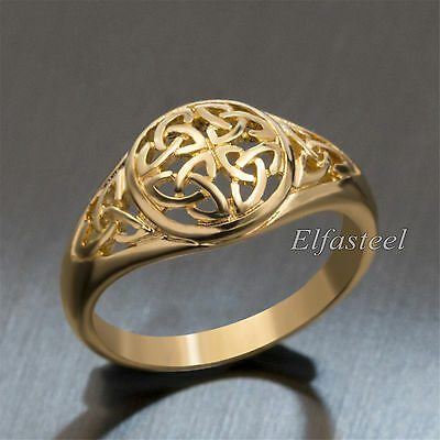 Women's Girl's Gold Celtic Knot Stainless Steel Fashion Ring