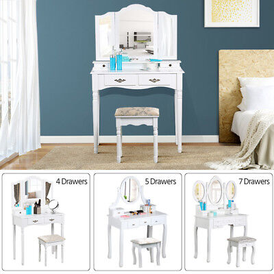 White Dressing Table Set Makeup Desk with Stool Mirrors 4/5/7 Drawers Bedroom UK