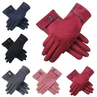 Women Ladies Winter Soft Warm Sheepskin Suede Leather Gloves With Lining Driving