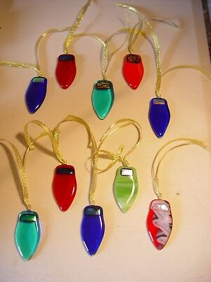 Christmas tree baubles in fused glass. Tree hangers to look like lights.5 pack