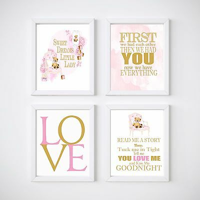 4 Print Teddy Bear Nursery Room Prints, Kids wall decor, Pink or Blue