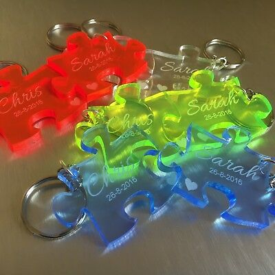 New Superior Quality Personalised  Acrylic or solid wood Jigsaw Keyrings