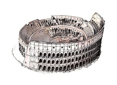Colosseum Ancient Rome Watercolour Travel Poster Wall Decor A3 / A4 unframed