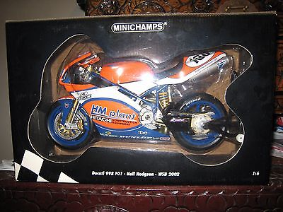 Minichamps Bike 1:6 Ducati 998 Neil Hodgson Wsb 2002 Very Rare Mint