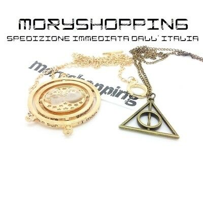 Set 2 Collana Ciondolo Harry Potter Bronzo Doni Della Morte E Giratempo Hermion