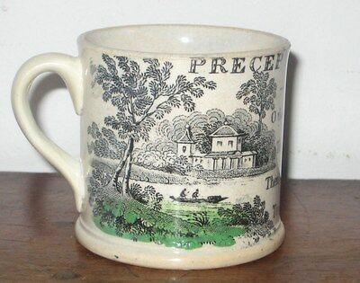 Unusual Staffordshire Childs Mug Colourful With Precepts Verse Circ 1820