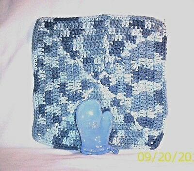 Kitchen #867 42.3284  Ceramic Oven Mitt Spoon Rest / Crocheted Utility Cloth