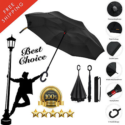 Inverted  Folding Umbrella Reverse Opening  2 Layer   UV Wind Proof C Handle