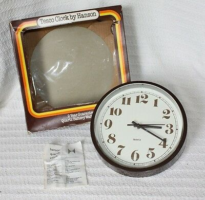 Vintage/Retro Wall Clock, Made by Hanson for Tesco, 1970's, Brown, Working