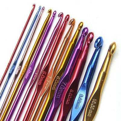 Hot Multi colours Aluminium Crochet Needles Hooks Yarn Craft 2mm-10mm Knitting