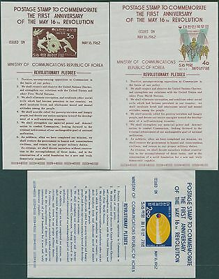 Korea South 1962 SG432a Revolution Anniversary MS set in English POSTAGE MLH