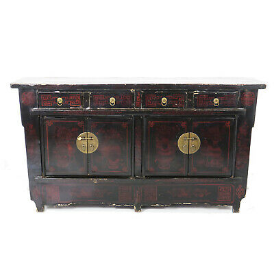 "Antique Chinese Asian 67"" Black Lacquer Buffet Sideboard Cabinet  Designs"
