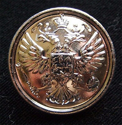10 Small Russian Official Uniform Button Imperial Double-Headed Eagle Silver Rim