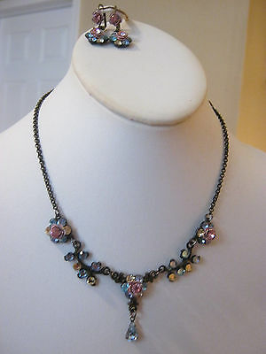 Dainty vintage rhinestone drop dangle necklace with matching earrings, pink blue