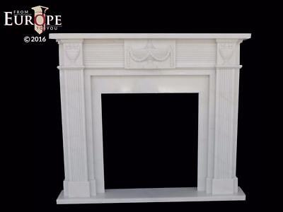 Hand Carved Marble Classical European Design Estate Fireplace Mantel - Cm45