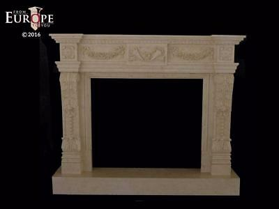 Hand Carved Marble Classical European Design Estate Fireplace Mantel - Cm65
