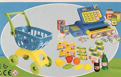 NEW Peppa Pig Cash Register And Shopping Trolley Groceries 37 pieces set