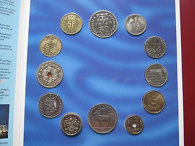 European Community Pre Euro 12 UNC coins including Pound & Punt in sealed Pack