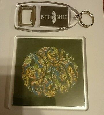 PRETTY GREEN COASTER & KEYRING liam gallagher oasis t shirt Noel gift parker cd
