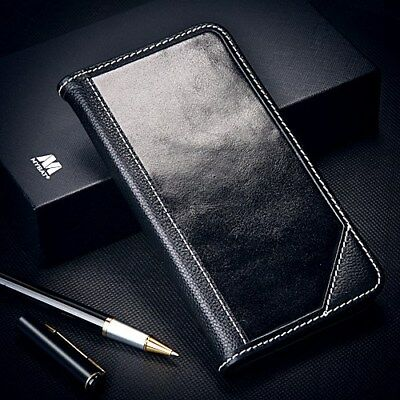 Samsung Galaxy Note 8 Genuine Leather Flip Wallet Case Protective Cover BLACK