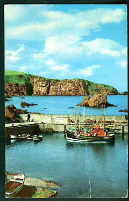 St Abbs harbour & White Heugh, Scotland. Sent 1973. Colourmaster Postcard