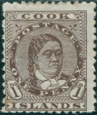 Cook Islands 1893 SG5 1d brown Queen Makea Takau MH