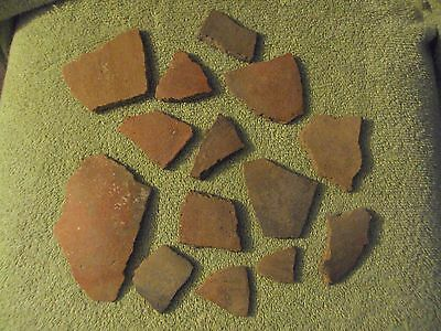14 Ancient Arizona Anasazi Red Pottery Shards
