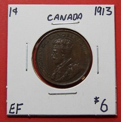 1913 Canada Large One Cent Penny Coin G42 - $6 EF