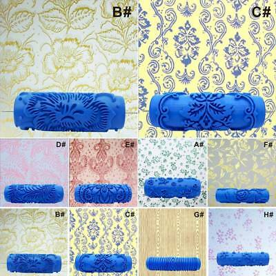 Embossed Paint Roller Sleeve Wall Texture Stencil Brush DIY Floral Pattern Decor