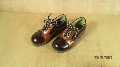 Savage Sanitized Boy Girl Child Two Tone Brown Leather Shoes D 7612993 Comb Fitt