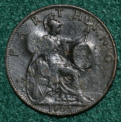 1903 British Edward VII Farthing coin